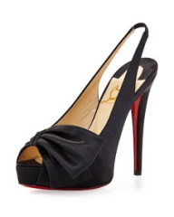 Christian Louboutin Vendome Satin Slingback Sandal Black at Neiman Marcus