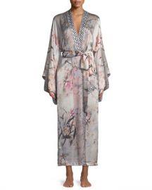 Christine Designs Nightingale Long Floral-Print Silk Robe at Neiman Marcus