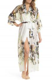 Christine Lingerie Floral Print Silk Robe at Nordstrom