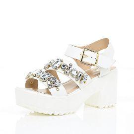 Chunky gem embellished sandals at River Island