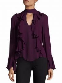 Cinq a Sept Sia Choker Ruffled Silk Blouse at Saks Off 5th