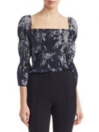 Cinq    Sept - Inky Floral Adelaide Smocked Top at Saks Fifth Avenue