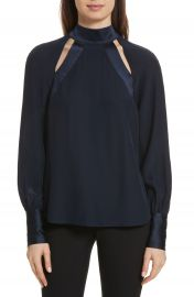 Cinq    Sept Harper Cutout Silk Top at Nordstrom