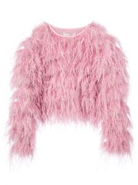 Cinq A Sept Cropped Feather Jacket at Farfetch