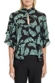 Cinq a Sept   Sept Ileana Palm Print Silk Top   Nordstrom Rack at Nordstrom Rack