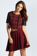 Circle skirt in wine at Boohoo