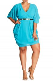 City Chic Belted Chiffon Faux Wrap Dress  Plus Size at Nordstrom