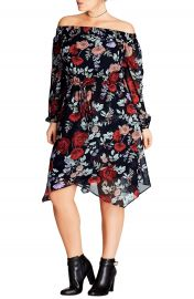 City Chic Dark Poppy Off the Shoulder Dress  Plus Size at Nordstrom
