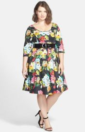 City Chic Floral Print Fit andamp Flare Dress at Nordstrom
