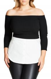 City Chic Layer Look Off the Shoulder Top  Plus Size at Nordstrom