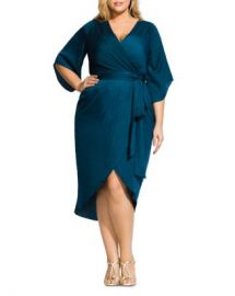 City Chic Plus Opulent Faux-Wrap Midi Dress Women -  Plus - Bloomingdale s at Bloomingdales