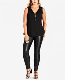 City Chic Trendy Plus Size Zip-Front Top at Macys
