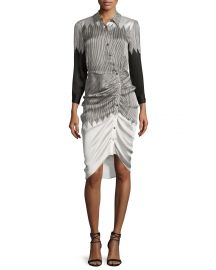 Clara Ruched Silk Shirtdress at Neiman Marcus