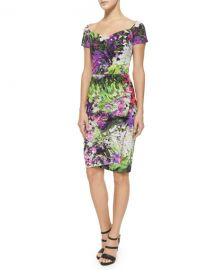 Claretta Floral-Print  Ruched Dress at Neiman Marcus