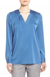 Classiques Entier   Notched V-Neck Stretch Silk Blouse at Nordstrom