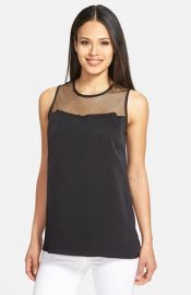Classiques Entierand174 Mesh Yoke Silk Shell at Nordstrom