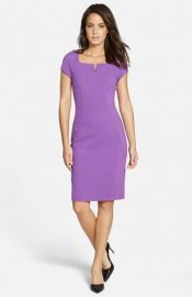 Classiques Entierand174 Notched Square Neck Ponte Sheath Dress at Nordstrom
