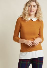 Classroom Charisma Collared Sweater in Turmeric at ModCloth