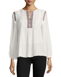 Clema Long-Sleeve Silk Top by Joie at Neiman Marcus