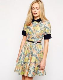 Closet  Closet Floral Contrast Cuff and Collar Skater Dress at Asos