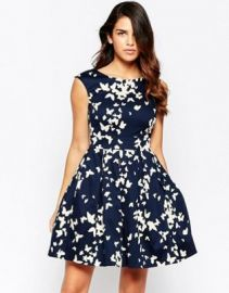 Closet Fit and Flare Dress in Butterfly Print at asos com at Asos