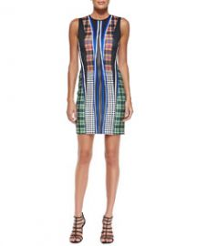 Clover Canyon Dublin Mixed-Print Fitted Sleeveless Dress at Neiman Marcus