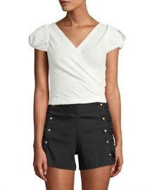 6be702950935 WornOnTV  Veronica s white short sleeve wrap top and pink shorts on Dirty  John
