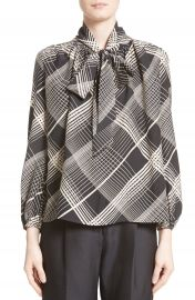 Co Plaid Silk Tie Neck Blouse at Nordstrom