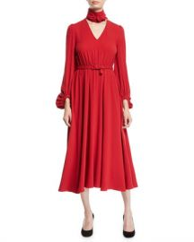 Co Tie-Neck Long-Sleeve Belted Japanese Crepe Midi Dress at Neiman Marcus