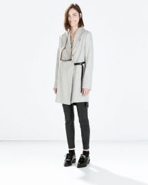 Coat with wide collar at Zara