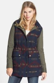 Coffee Shop and39Aztecand39 Mixed Media Hooded Coat at Nordstrom
