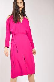 Cold Shoulder  V-neck Midi Dress by Topshop at Nordstrom
