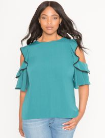 Cold Shoulder Ruffle Blouse at Eloquii