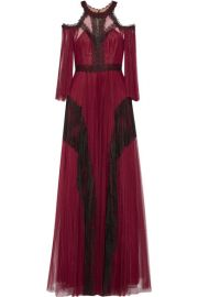 Cold-shoulder Pleated Tulle Gown by Marchesa Notte at Net A Porter