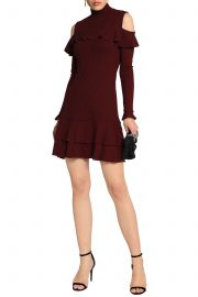 Cold-shoulder melange ribbed-knit mini dress by Nicholas at The Outnet