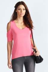Cold shoulder tee at Boohoo