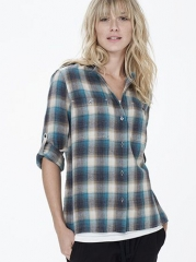 Collarless plaid shirt at James Perse