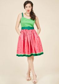 Collectif Abide by Timeless Fit and Flare Dress in Watermelon at ModCloth
