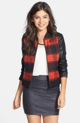Collection B Plaid Baseball Jacket at Nordstrom