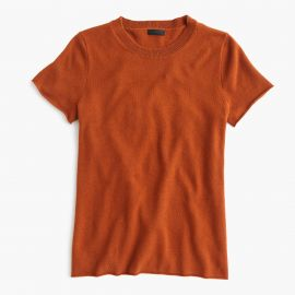 Collection cashmere short-sleeve T-shirt in Warm Sepia at J. Crew