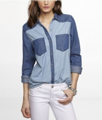 Color Block Denim Shirt at Express