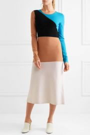 Color-block wool midi dress at Net A Porter