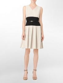 Colorblock Belted Dress at Calvin Klein