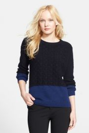 Colorblock Cable Knit Crewneck Sweater at Nordstrom Rack