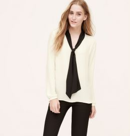 Colorblock bow blouse at Loft