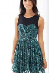 Colorblock printed aline dress at Forever 21
