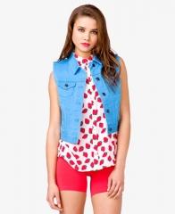 Colored denim vest at Forever 21