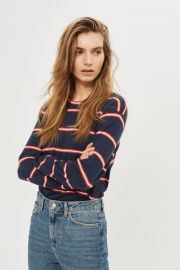 Colour Striped Long Sleeve Crew Neck T-Shirt at Topshop