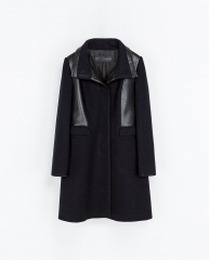 Combined Faux Leather Coat at Zara