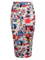 Comic print midi skirt at Select